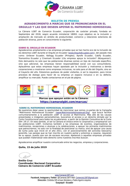 Boletín AGRADECIMIENTO A MARCAS QUE SE PRONUNCIARON EN EL ORGULLO Y LAS QUE DESEEN APOYAR EL MATRIMONO HOMOSEXUAL - Cámara LGBT de Ecuador-1