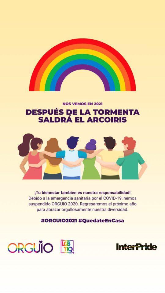 Suspensión del Orgullo Quito, Ecuador por emergencia Covid19 Orguio